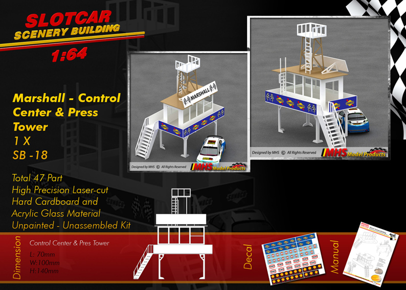 Slotcar Scenery Building Control Center with Press Tower 1-64