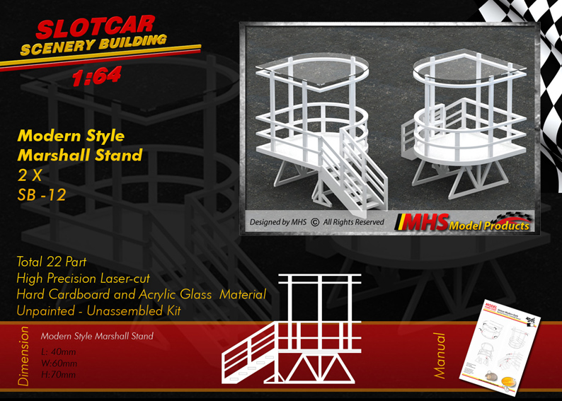 Slotcar Scenery Building Modern Style Marshall Stand 1-64