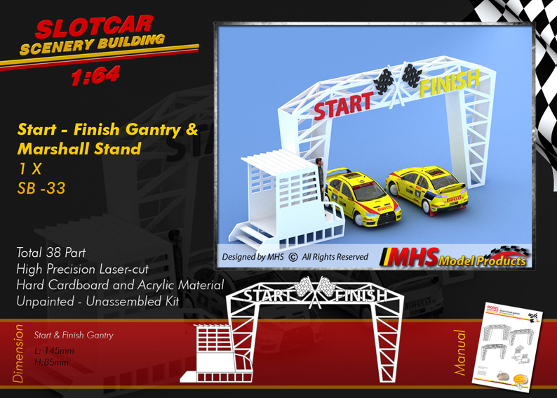 Slotcar Scenery Building Start & Finish Gantry with Marshall Stand 1-64